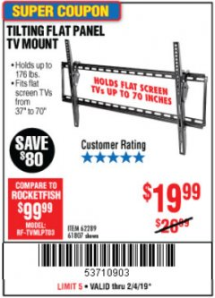 Harbor Freight Coupon TILTING FLAT PANEL TV MOUNT Lot No. 64355/64356 Expired: 2/4/19 - $19.99