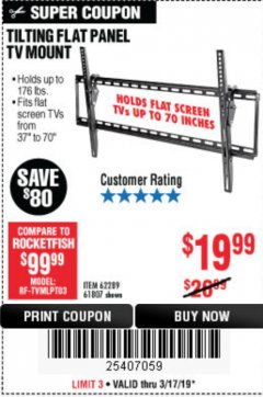 Harbor Freight Coupon TILTING FLAT PANEL TV MOUNT Lot No. 64355/64356 Expired: 3/17/19 - $19.99