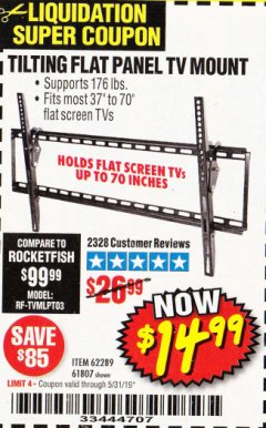 Harbor Freight Coupon TILTING FLAT PANEL TV MOUNT Lot No. 64355/64356 Expired: 5/31/19 - $14.99