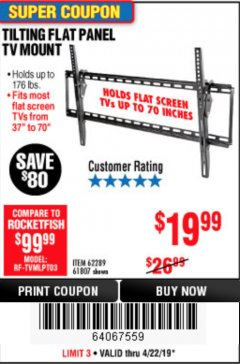 Harbor Freight Coupon TILTING FLAT PANEL TV MOUNT Lot No. 64355/64356 Expired: 4/23/19 - $19.99