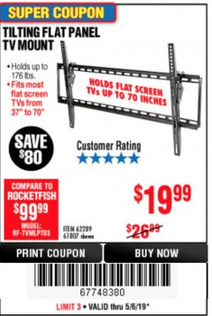 Harbor Freight Coupon TILTING FLAT PANEL TV MOUNT Lot No. 64355/64356 Expired: 5/6/19 - $19.99