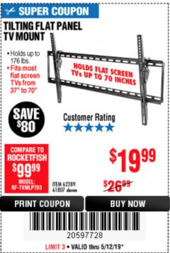 Harbor Freight Coupon TILTING FLAT PANEL TV MOUNT Lot No. 64355/64356 Expired: 5/12/19 - $19.99