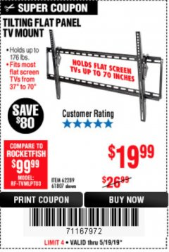 Harbor Freight Coupon TILTING FLAT PANEL TV MOUNT Lot No. 64355/64356 Expired: 5/19/19 - $19.99