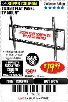 Harbor Freight Coupon TILTING FLAT PANEL TV MOUNT Lot No. 64355/64356 Expired: 6/30/19 - $19.99