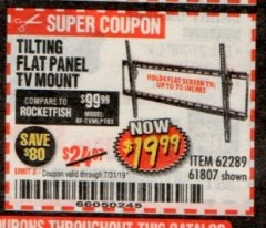 Harbor Freight Coupon TILTING FLAT PANEL TV MOUNT Lot No. 64355/64356 Expired: 7/31/19 - $19.99