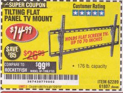 Harbor Freight Coupon TILTING FLAT PANEL TV MOUNT Lot No. 64355/64356 Expired: 10/9/19 - $14.99
