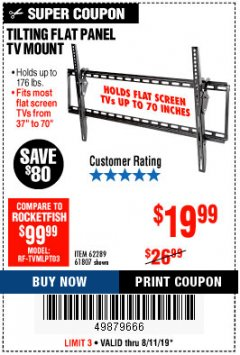 Harbor Freight Coupon TILTING FLAT PANEL TV MOUNT Lot No. 64355/64356 Expired: 8/11/19 - $19.99