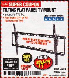 Harbor Freight Coupon TILTING FLAT PANEL TV MOUNT Lot No. 64355/64356 Expired: 8/31/19 - $14.99