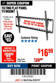 Harbor Freight Coupon TILTING FLAT PANEL TV MOUNT Lot No. 64355/64356 Expired: 8/25/19 - $16.99