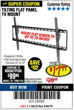 Harbor Freight Coupon TILTING FLAT PANEL TV MOUNT Lot No. 64355/64356 Expired: 9/30/19 - $17.99