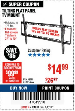 Harbor Freight Coupon TILTING FLAT PANEL TV MOUNT Lot No. 64355/64356 Expired: 9/2/19 - $14.99