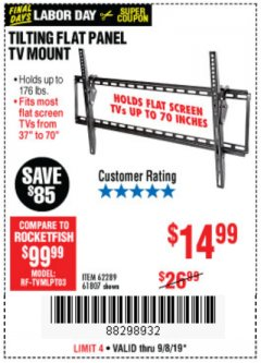 Harbor Freight Coupon TILTING FLAT PANEL TV MOUNT Lot No. 64355/64356 Expired: 9/8/19 - $14.99