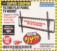 Harbor Freight Coupon TILTING FLAT PANEL TV MOUNT Lot No. 64355/64356 Expired: 11/30/19 - $14.99