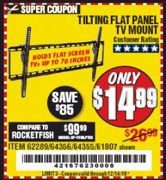 Harbor Freight Coupon TILTING FLAT PANEL TV MOUNT Lot No. 64355/64356 Expired: 12/14/19 - $14.99