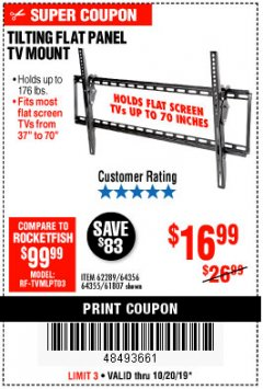 Harbor Freight Coupon TILTING FLAT PANEL TV MOUNT Lot No. 64355/64356 Expired: 10/20/19 - $16.99