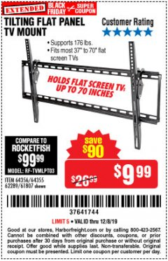 Harbor Freight Coupon TILTING FLAT PANEL TV MOUNT Lot No. 64355/64356 Expired: 12/8/19 - $9.99