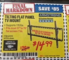 Harbor Freight Coupon TILTING FLAT PANEL TV MOUNT Lot No. 64355/64356 Valid Thru: 2/29/20 - $14.99