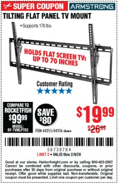 Harbor Freight Coupon TILTING FLAT PANEL TV MOUNT Lot No. 64355/64356 Expired: 2/9/20 - $19.99