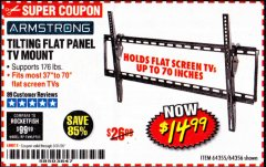 Harbor Freight Coupon TILTING FLAT PANEL TV MOUNT Lot No. 64355/64356 Expired: 3/31/20 - $14.99