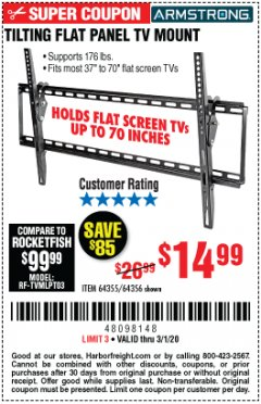 Harbor Freight Coupon TILTING FLAT PANEL TV MOUNT Lot No. 64355/64356 Expired: 3/1/20 - $14.99