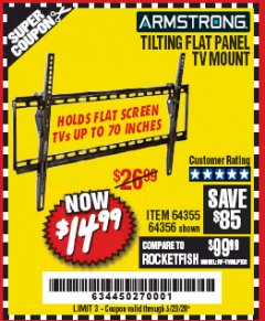 Harbor Freight Coupon TILTING FLAT PANEL TV MOUNT Lot No. 64355/64356 Expired: 6/30/20 - $14.99
