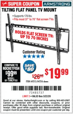 Harbor Freight Coupon TILTING FLAT PANEL TV MOUNT Lot No. 64355/64356 Expired: 3/22/20 - $19.99