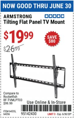 Harbor Freight Coupon TILTING FLAT PANEL TV MOUNT Lot No. 64355/64356 Expired: 6/30/20 - $19.99