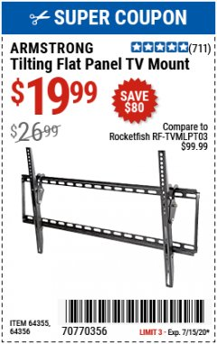 Harbor Freight Coupon TILTING FLAT PANEL TV MOUNT Lot No. 64355/64356 Expired: 7/15/20 - $19.99