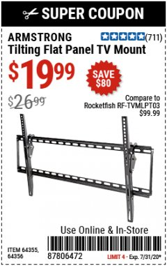 Harbor Freight Coupon TILTING FLAT PANEL TV MOUNT Lot No. 64355/64356 Expired: 7/31/20 - $19.99