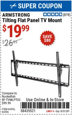 Harbor Freight Coupon TILTING FLAT PANEL TV MOUNT Lot No. 64355/64356 Expired: 8/31/20 - $19.99