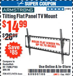 Harbor Freight Coupon TILTING FLAT PANEL TV MOUNT Lot No. 64355/64356 Expired: 1/8/21 - $14.99