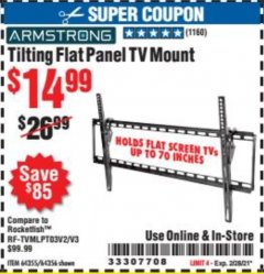 Harbor Freight Coupon TILTING FLAT PANEL TV MOUNT Lot No. 64355/64356 Expired: 2/28/21 - $14.99