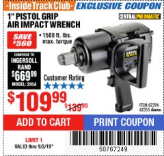 "Harbor Freight ITC Coupon 1"" PISTOL GRIP AIR IMPACT WRENCH Lot No. 62396/62355 Expired: 9/3/19 - $109.99"