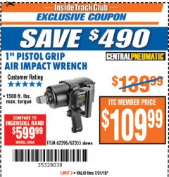 "Harbor Freight ITC Coupon 1"" PISTOL GRIP AIR IMPACT WRENCH Lot No. 62396/62355 Expired: 7/31/18 - $109.99"