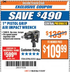 "Harbor Freight ITC Coupon 1"" PISTOL GRIP AIR IMPACT WRENCH Lot No. 62396/62355 Expired: 11/13/18 - $109.99"