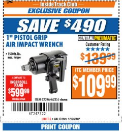 "Harbor Freight ITC Coupon 1"" PISTOL GRIP AIR IMPACT WRENCH Lot No. 62396/62355 Expired: 12/26/18 - $109.99"