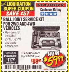Harbor Freight Coupon BALL JOINT SERVICE KIT FOR 2WD AND 4WD VEHICLES Lot No. 64399/63279/63258/63610 Expired: 6/30/18 - $59.99