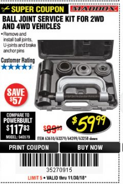 Harbor Freight Coupon BALL JOINT SERVICE KIT FOR 2WD AND 4WD VEHICLES Lot No. 64399/63279/63258/63610 Expired: 11/30/18 - $59.99