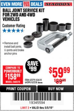 Harbor Freight Coupon BALL JOINT SERVICE KIT FOR 2WD AND 4WD VEHICLES Lot No. 64399/63279/63258/63610 Expired: 5/5/19 - $59.99