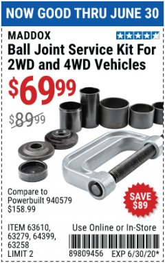 Harbor Freight Coupon BALL JOINT SERVICE KIT FOR 2WD AND 4WD VEHICLES Lot No. 64399/63279/63258/63610 Expired: 6/30/20 - $69.99