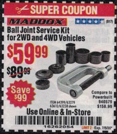 Harbor Freight Coupon BALL JOINT SERVICE KIT FOR 2WD AND 4WD VEHICLES Lot No. 64399/63279/63258/63610 Expired: 7/5/20 - $59.99