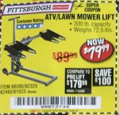 Harbor Freight Coupon HIGH LIFT RIDING LAWN MOWER/ATV LIFT Lot No. 61523/60395/62325/62493 Expired: 9/5/18 - $79.99
