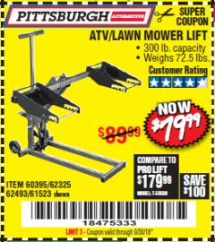 Harbor Freight Coupon HIGH LIFT RIDING LAWN MOWER/ATV LIFT Lot No. 61523/60395/62325/62493 Expired: 9/30/18 - $79.99
