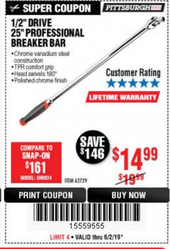"Harbor Freight Coupon 25"" Professional Breaker Bar Lot No. 62729 Expired: 6/2/19 - $14.99"