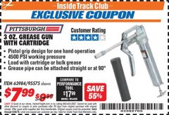 Harbor Freight ITC Coupon 3 OZ. GREASE GUN WITH CARTRIDGE Lot No. 95575 Expired: 6/30/18 - $7.99
