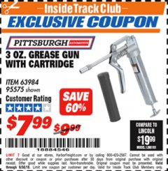Harbor Freight ITC Coupon 3 OZ. GREASE GUN WITH CARTRIDGE Lot No. 95575 Expired: 9/30/18 - $7.99