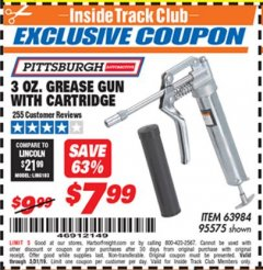 Harbor Freight ITC Coupon 3 OZ. GREASE GUN WITH CARTRIDGE Lot No. 95575 Expired: 5/31/19 - $7.99