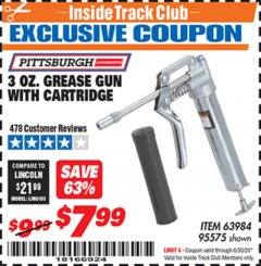 Harbor Freight ITC Coupon 3 OZ. GREASE GUN WITH CARTRIDGE Lot No. 95575 Valid Thru: 6/30/20 - $7.99