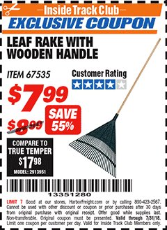 Harbor Freight ITC Coupon LEAF RAKE WITH WOODEN HANDLE Lot No. 67535 Expired: 7/31/18 - $7.99