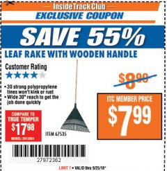Harbor Freight ITC Coupon LEAF RAKE WITH WOODEN HANDLE Lot No. 67535 Expired: 9/25/18 - $7.99